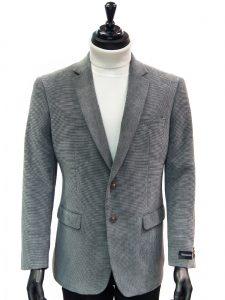 Afazzy Men Grey Chenille Texture Wrinkle Resistant 2 Button Dress Casual Blazer