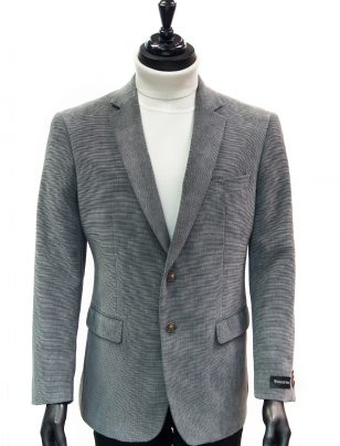 Afazzy Men Grey Chenille Texture Wrinkle Resistant 2 Button Dress Casual Blazer