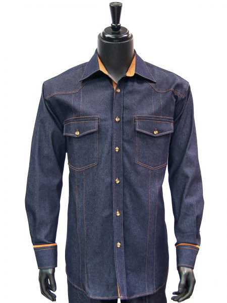Inserch Mens Blue Denim Suede Elbow Padded Two Piece Casual Walking Suit