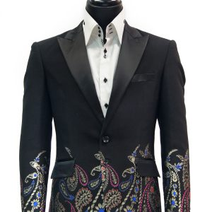 Angelino Black Multicolor Metallic Paisley Artistic Men Formal Dress Fun Blazer