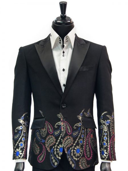 Angelino Black Multicolor Metallic Paisley Floral Design Formal Dress Blazer