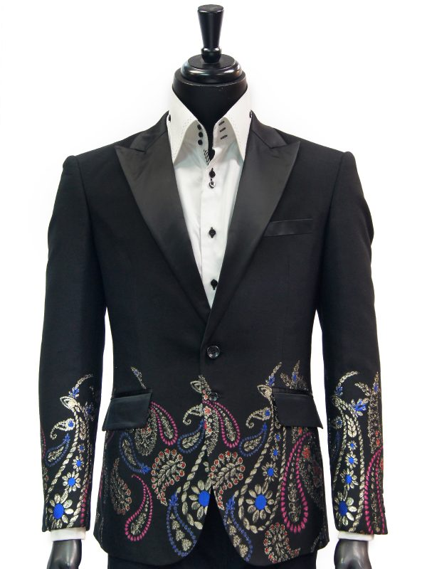 Angelino Black Multicolor Metallic Paisley Floral Design Formal Dress Blazer