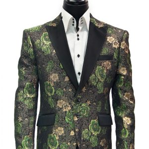 Angelino Men Green Black Gold Metallic Rose Design Satin Lapel Dress Fun Blazer