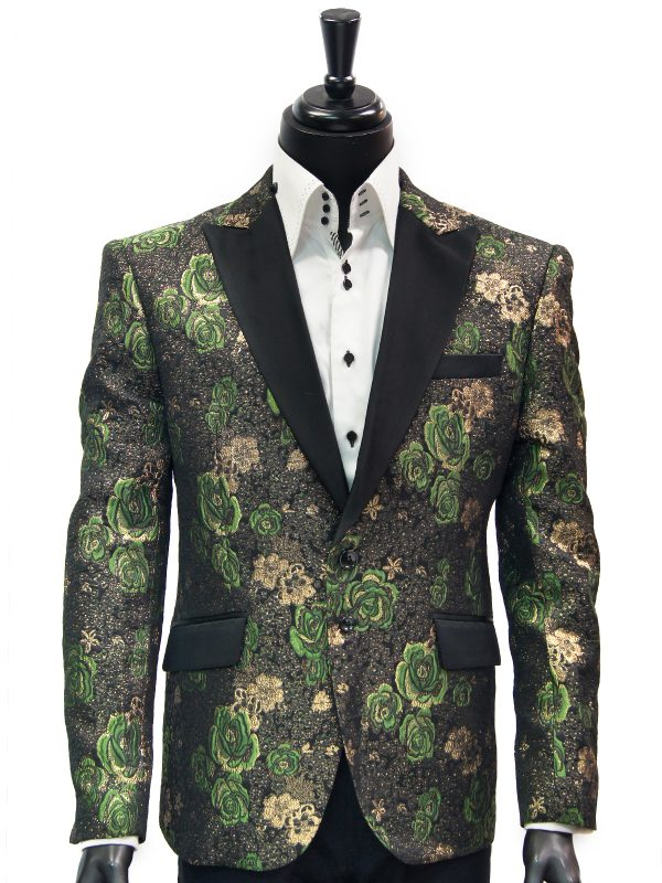 Angelino Men Green Black Gold Metallic Rose Pattern Satin Lapel Dress Blazer