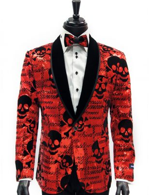 Barabas Mens Red Black Sequin Skull Design Velvet Lapel Dress Party Blazer