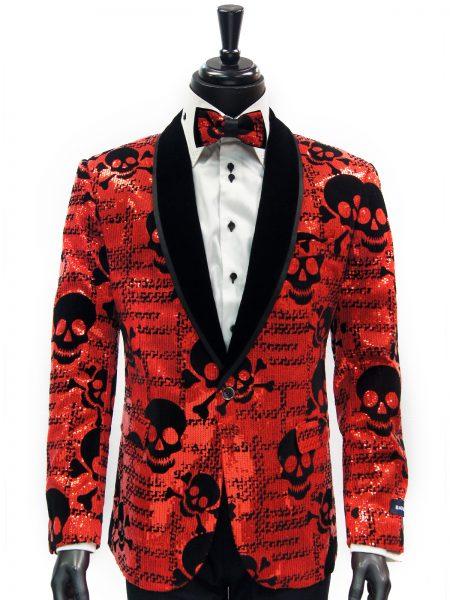 Barabas Mens Red Black Sequin Skull Design Velvet Lapel Dress Party Blazer