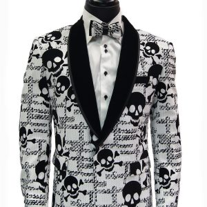 Mens Skull Pattern White Black Velvet Sequin Black Lapel Dress Party Fun Blazer