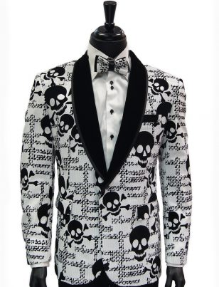 Barabas Mens White Black Sequin Skull Design Velvet Lapel Dress Party Blazer