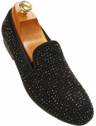 New Steve Madden Mens Black Rhinestone Trendy Slipper Loafer Party Shoe