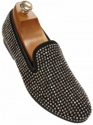 New Steve Madden Mens Black Silver Rhinestone Trendy Slipper Loafer Party Shoe