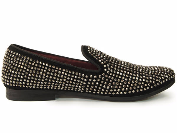 fdf451ac13a New Steve Madden Mens Black Silver Rhinestone Trendy Slipper Loafer Party  Shoe. 100% Satisfaction GuaranteedFree ShippingNo Sales TaxEasy Returns
