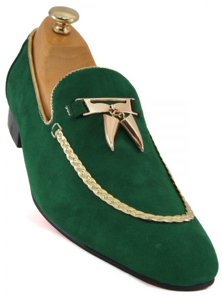 Fiesso Mens Green Suede Gold Tassel Stepping Entertainer Dress Loafer Shoe