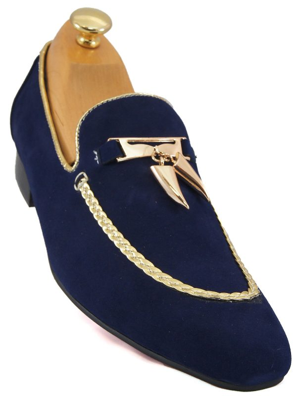 Fiesso Mens Navy Blue Suede Gold Tassel Stepping Entertainer Dress Loafer Shoe