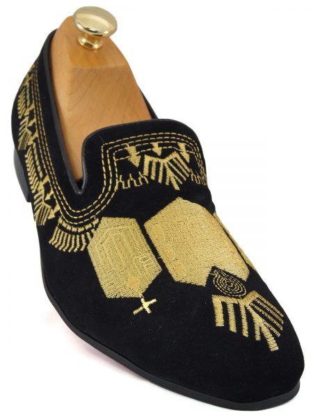 Fiesso Mens Black Suede Gold Embroidered Design Formal Dress Loafer Shoe