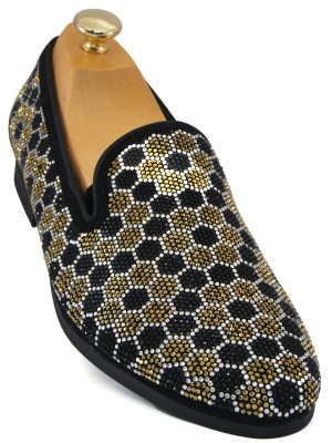 6c23f687b46e Steve Madden. Steve Madden Mens Gold Black Honeycomb Rhinestone Pattern Slip  On Loafer Shoe