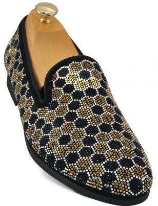 Steve Madden Mens Gold Black Honeycomb Rhinestone Pattern Slip On Loafer Shoe