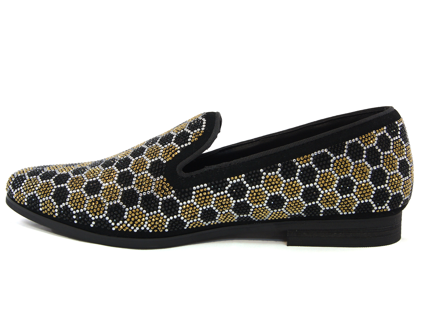 d8151e01e62 Steve Madden Mens Gold Black Honeycomb Rhinestone Pattern Slip On Loafer  Shoe. 100% Satisfaction GuaranteedFree ShippingNo Sales TaxEasy Returns