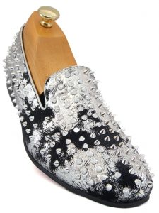 Fiesso Mens Black Silver Metallic Suede Spike Studded Red Bottom Loafer Shoe