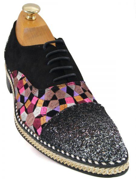 Fiesso Mens Black Pink Multicolor Color Block Sequin Red Bottom Oxford Shoe