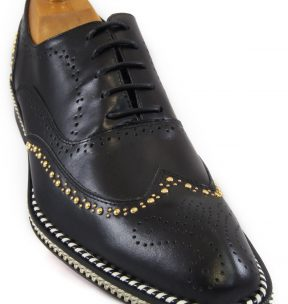Fiesso Men Black Gold Studd Chain Wingtip Red Bottom Lace Up Oxford Casual Shoe