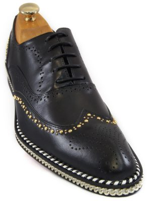 Fiesso Mens Black Gold Studded Chain Wingtip Red Bottom Lace Up Oxford Shoe