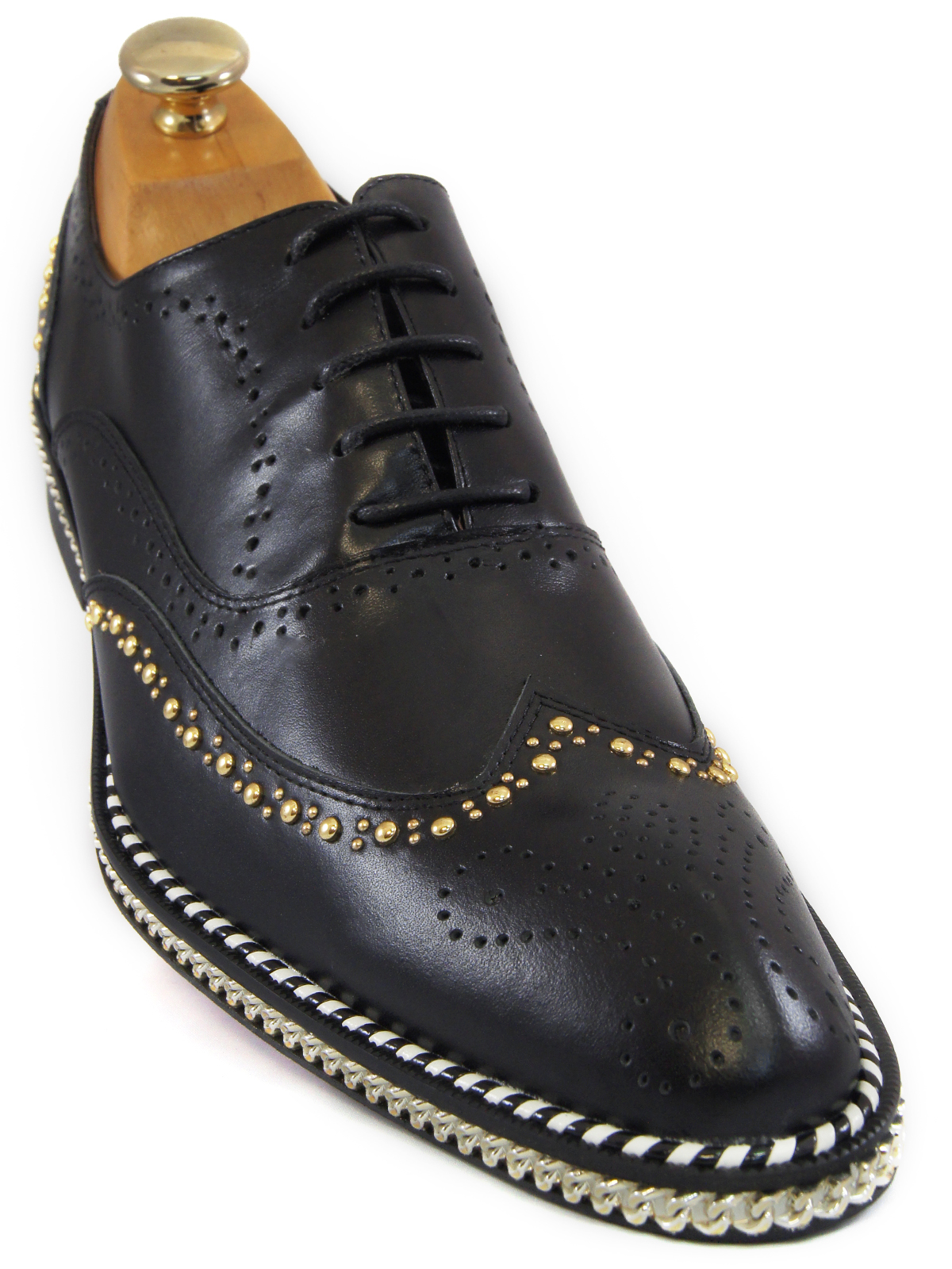 aae9e2731aab Fiesso Mens Black Gold Studded Chain Wingtip Red Bottom Lace Up Oxford Shoe
