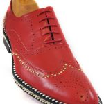 Fiesso Mens Red Gold Studded Chain Wingtip Red Bottom Lace Up Oxford Shoe