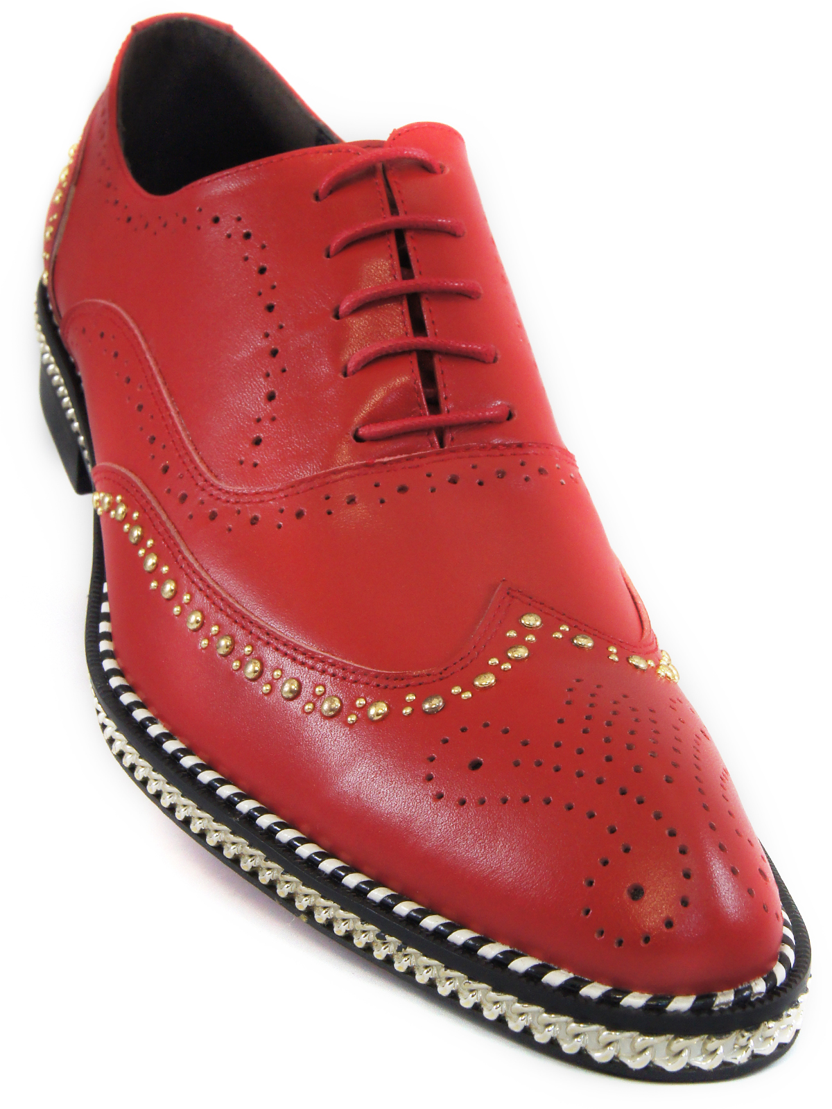 Fiesso Men Red Leather Gold Studded