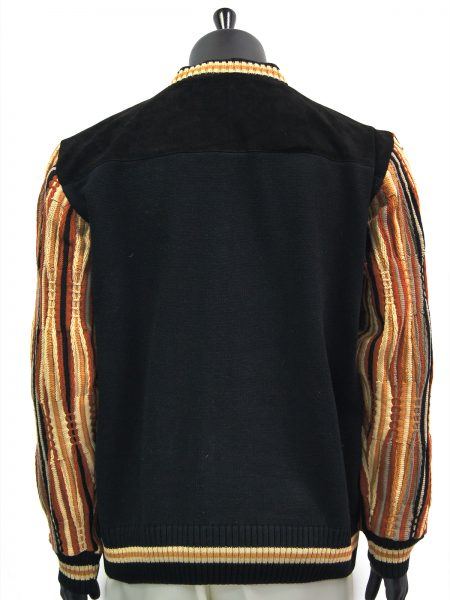 Steven Land Mens Genuine Leather Black Multi Color Striped Crew Neck Sweater