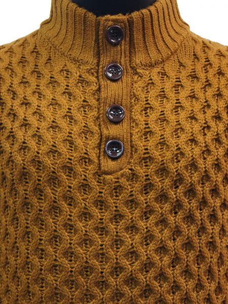 Public Denim Mens Gold Knit Ultra Plush Quarter Button Up Pullover Sweater