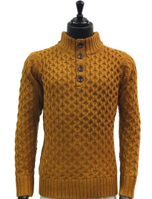 Public Denim Mens Gold Knit Ultra Plush Quarter Button Up Pullover Sweater