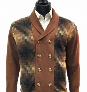 LaVane Mens Brown Multicolor Gradient Pattern Double Breasted Cardigan Sweater