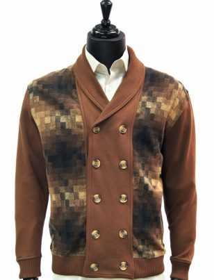 LaVane Mens Brown Multicolor Gradient Square Pattern Button Up Cardigan Sweater