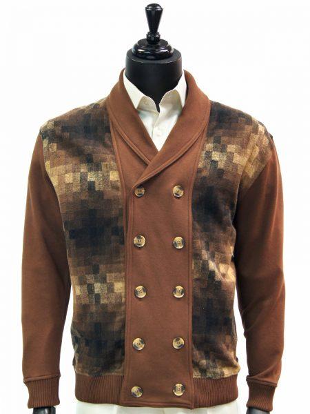 LaVane Mens Brown Multicolor Gradient Square Pattern Button Up Cardigan Sweater