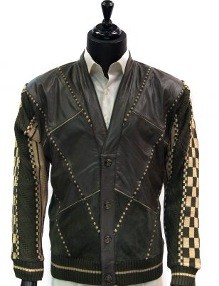 Steven Land Mens Genuine Leather Olive Green Button Up Cardigan Sweater