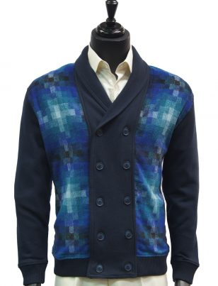 LaVane Mens Navy Multicolor Gradient Square Pattern Button Up Cardigan Sweater