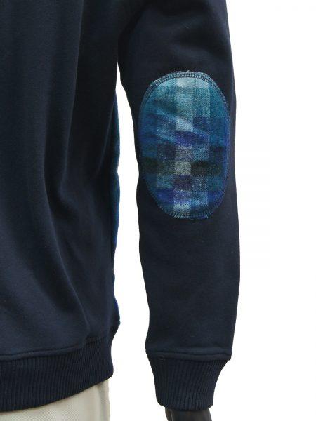 LaVane Mens Navy Multicolor Gradient Square Pattern Button Up Cardigan Sweater
