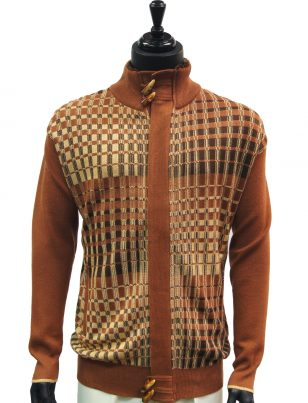 SilverSilk Mens Cayanne Cognac Graphic Design Fur Zip Up Cardigan Sweater