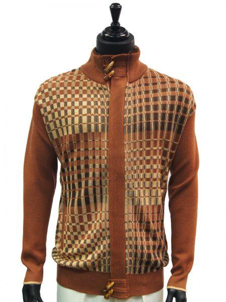 SilverSilk Mens Cayanne Cognac Graphic Design Fur Zip Up Cardigan Sweater