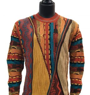 Steven Land Mens Coogi Design Earth Color Luxurious Rich Knit Crew Neck Sweater