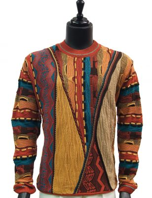 Steven Land Mens Coogi Design Moccasion Tan Teal Multicolor Crew Neck Sweater