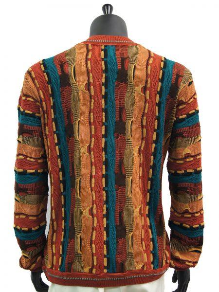 Steven Land Mens Coogi Design Moccasion Tan Teal Multicolor Crew Neck Sweater