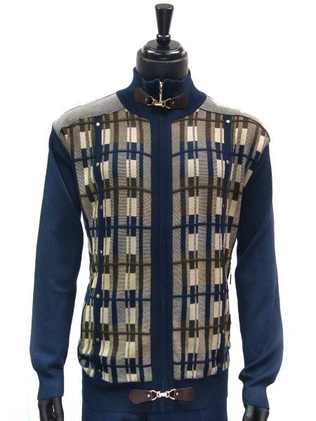 SilverSilk Mens Navy Blue Multicolor Graphic Design Zip Up Cardigan Sweater
