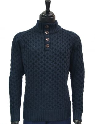 Public Denim Mens Navy Knit Ultra Plush Quarter Button Up Pullover Sweater