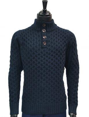 Public Denim Mens Navy Knit Ultra Plush Quarter Button Up Pullover Sweater
