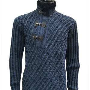 LaVane Mens Denim Blue Black Cable Knit Fur Trim Buckle Collar Pullover Sweater