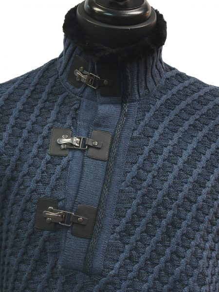 LaVane Mens Denim Blue Black Cable Knit Fur Trim Buckle Collar Pullover Sweater