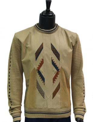 Steven Land Mens Beige Genuine Leather Suede Striped Crew Neck Sweater