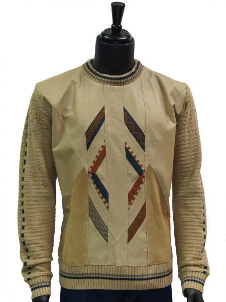 Steven Land Mens Beige Genuine Leather Suede Striped Crew Neck Sweater