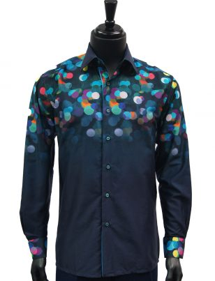 Steven Land Mens Navy Blue Rainbow Gradient Polka Dot Pattern Button Up Shirt